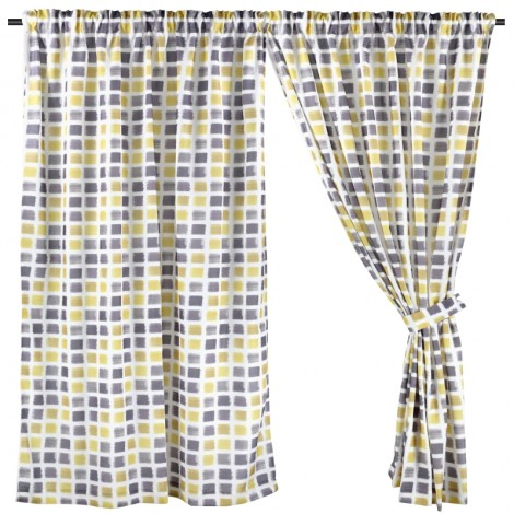 Printed Night Curtain, Ready Made Curtain, Yellow & Black Geometric