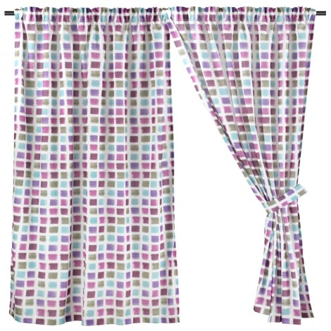 Printed Night Curtain, Ready Made Curtain, Purple& Blue Geometric