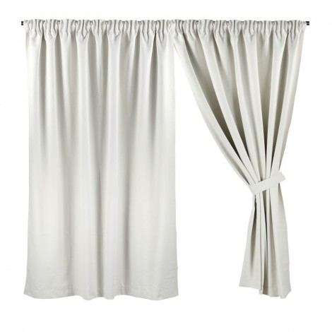 Half Length (147cm W x 172cm H) Ready Made Curtain, Dim Out, Cream, 3 Ways Hanging Options