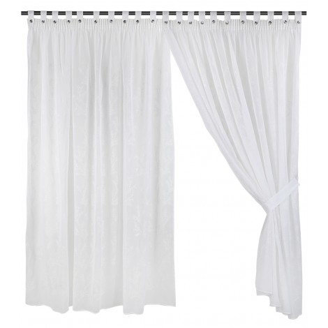 Ready Made Curtain, Embriodery, Sheer, E1030 White